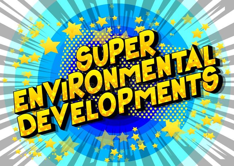 Développements environnementaux superbes - mots de style de bande dessinée illustration stock