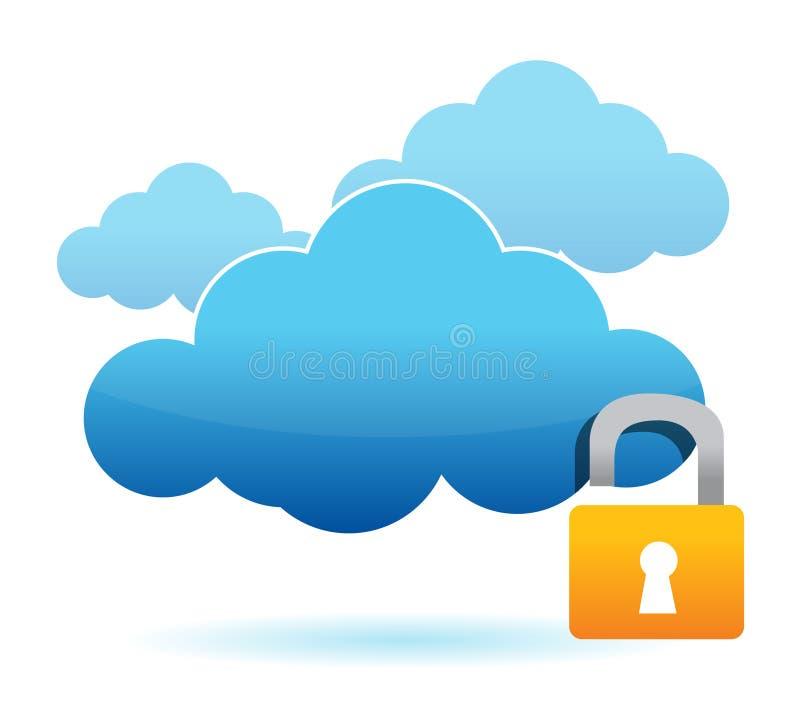 Déverrouillez le concept dangereux d'ordinateur de nuage illustration de vecteur