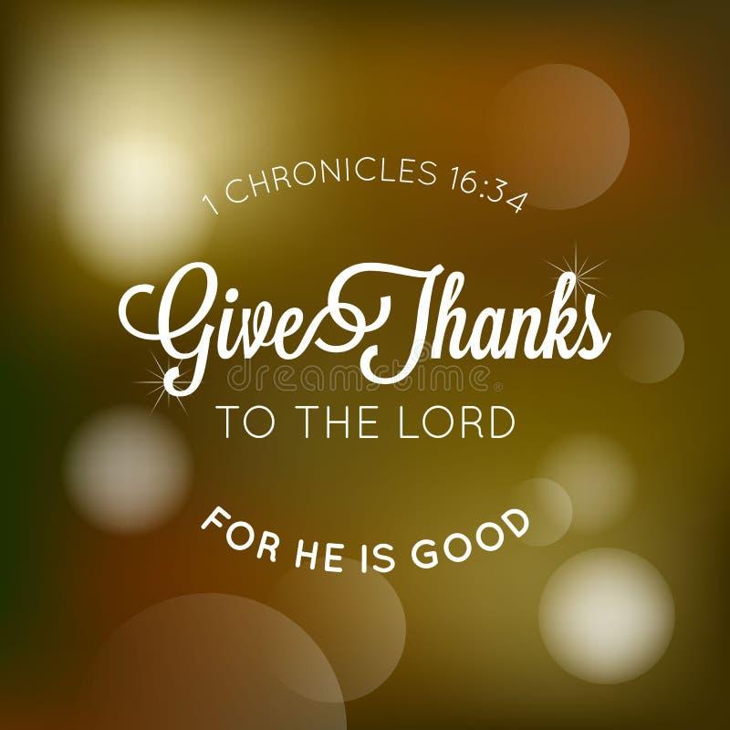 Dê agradecimentos ao senhor tipográfico da Bíblia ilustração royalty free