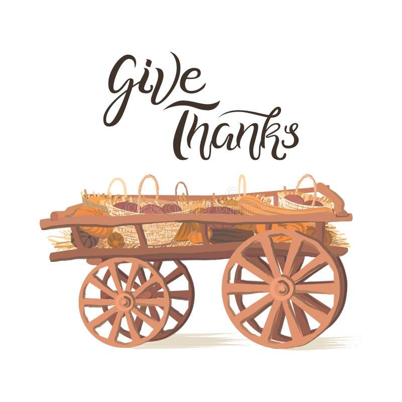 Dê a agradecimentos cartão escrito à mão da rotulação com carro de madeira ilustração stock