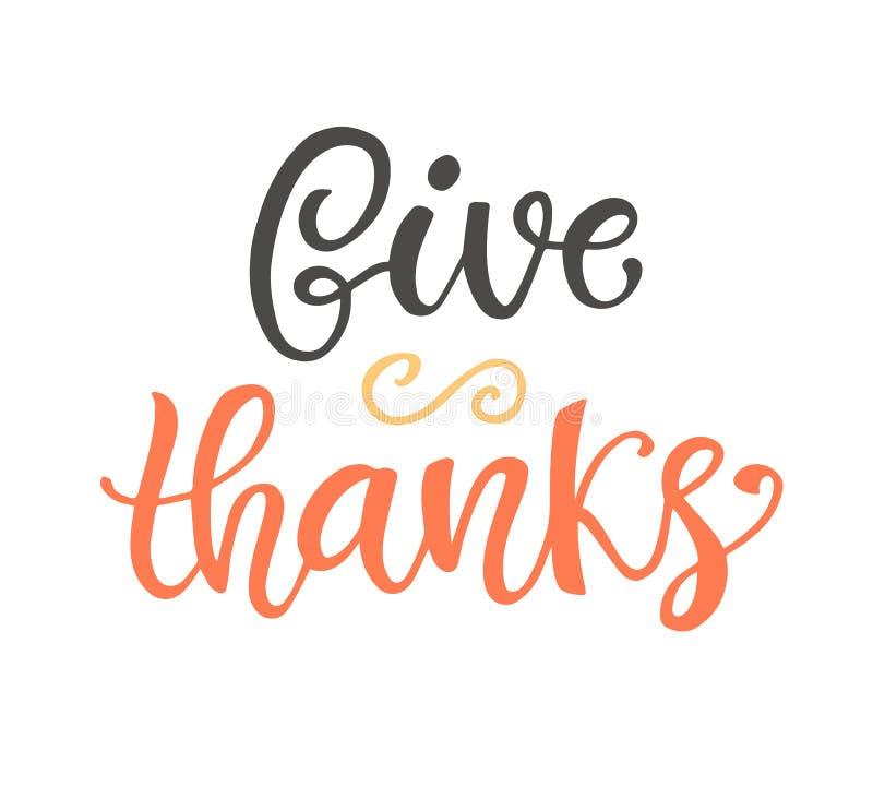 Dê agradecimentos Rotulação do dia da ação de graças ilustração do vetor