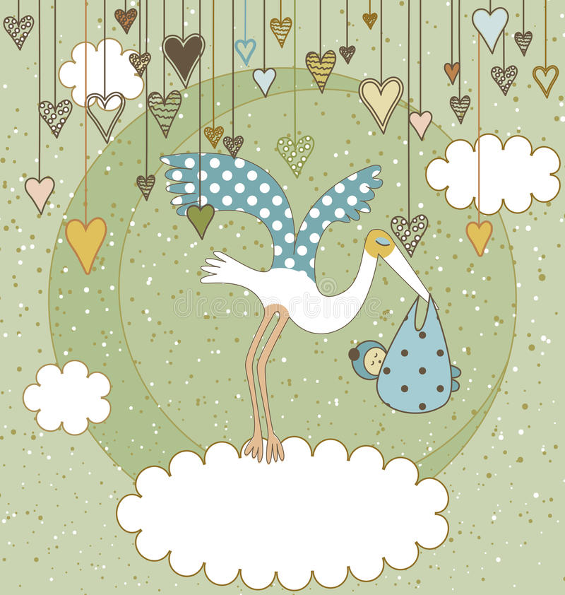 Dê boas-vindas ao cartão do bebê ilustração stock