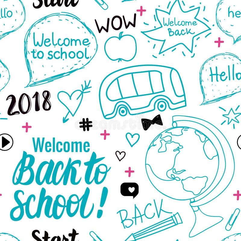 Dê boas-vindas de volta ao teste padrão sem emenda da escola 2018 Elementos ajustados da tração da mão do vetor isolados no fundo ilustração stock