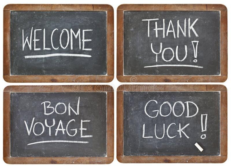 Dê boas-vindas, obrigado, boa sorte imagens de stock royalty free