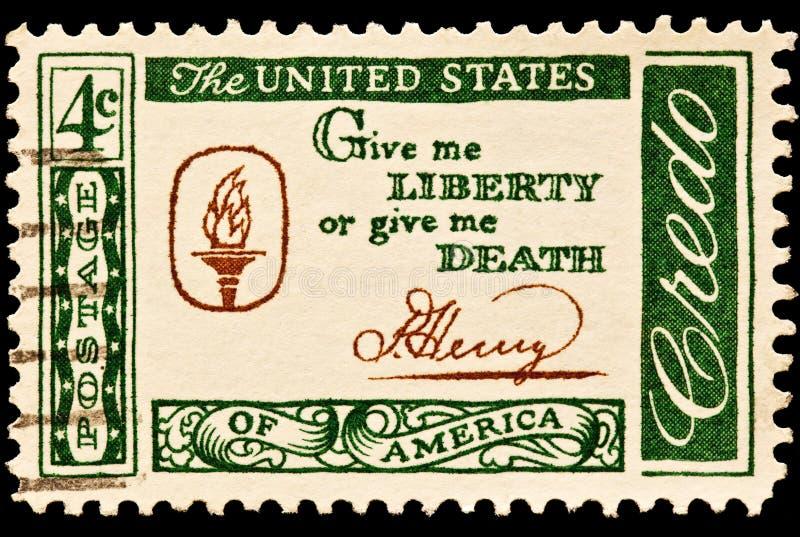 Dê-me a liberdade ou dê-me a morte slogan postal foto de stock royalty free