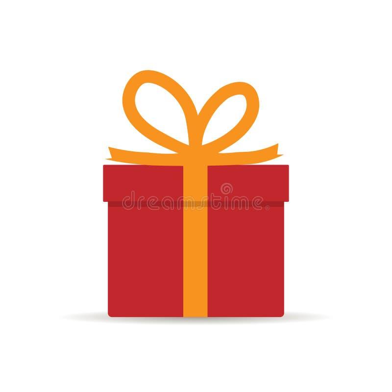 Dê o presente O homem guarda a caixa de presente branca com uma fita vermelha nas mãos Doação, recebendo a surpresa Projeto liso  ilustração do vetor