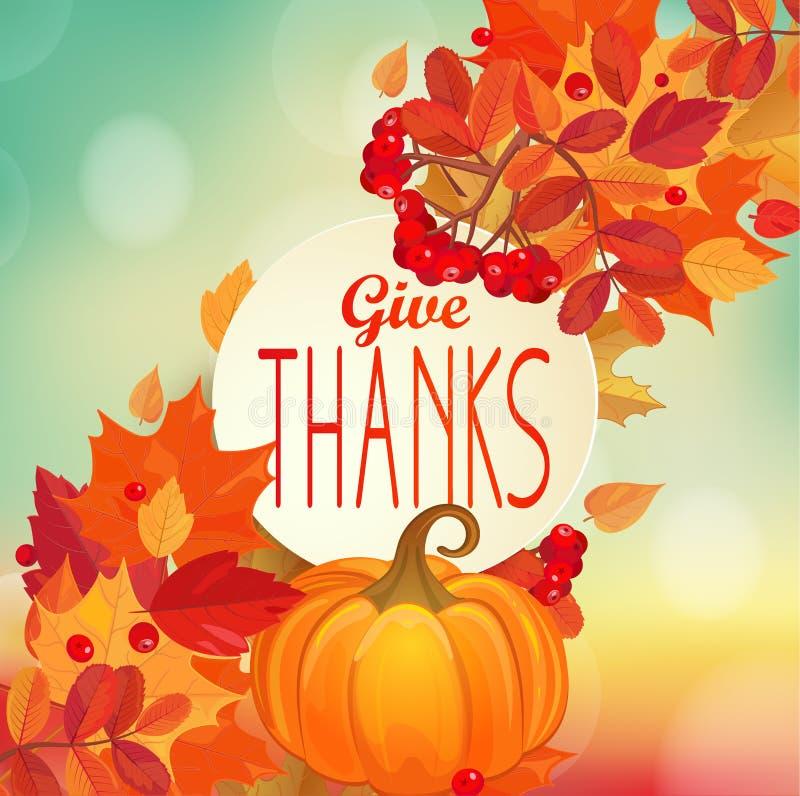 Dê os agradecimentos - fundo do outono com abóbora ilustração royalty free