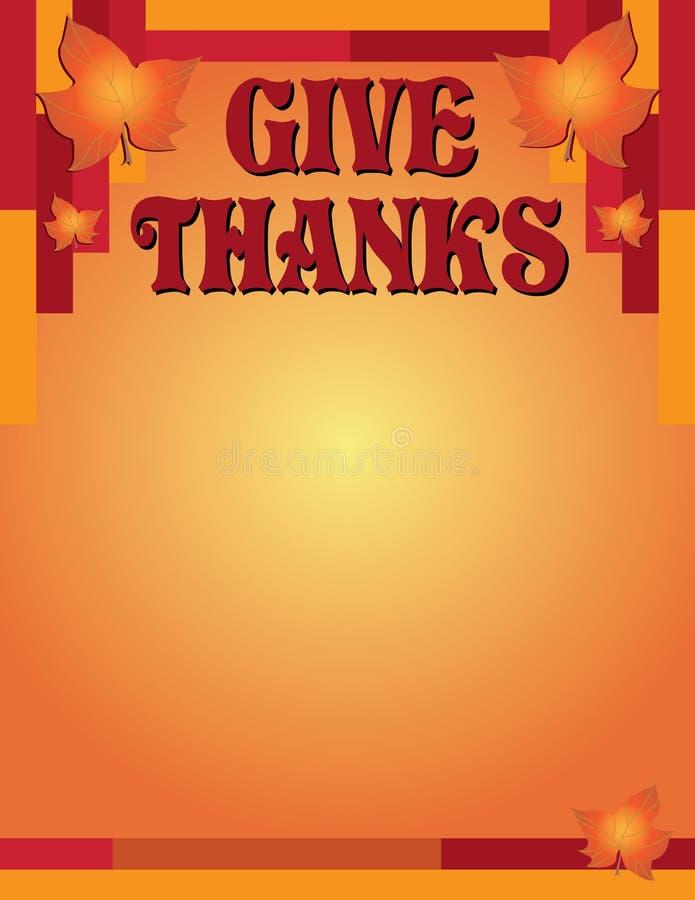Dê a queda e o Autumn Modern Border dos agradecimentos com folhas ilustração stock