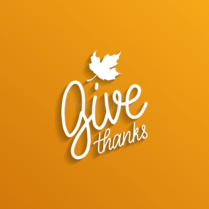 Dê a rotulação do vetor dos agradecimentos no fundo branco Ilustração da folha de bordo para o convite ou o cartão da ação de gra ilustração stock