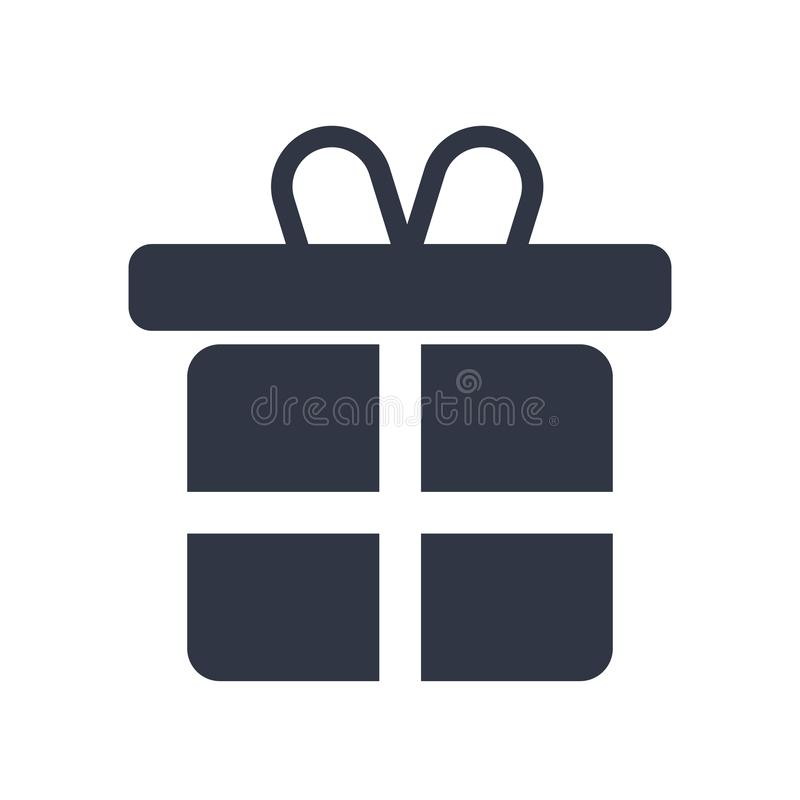 Dê um sinal do vetor do ícone do presente e o símbolo isolado no fundo branco, dá um conceito do logotipo do presente ilustração do vetor