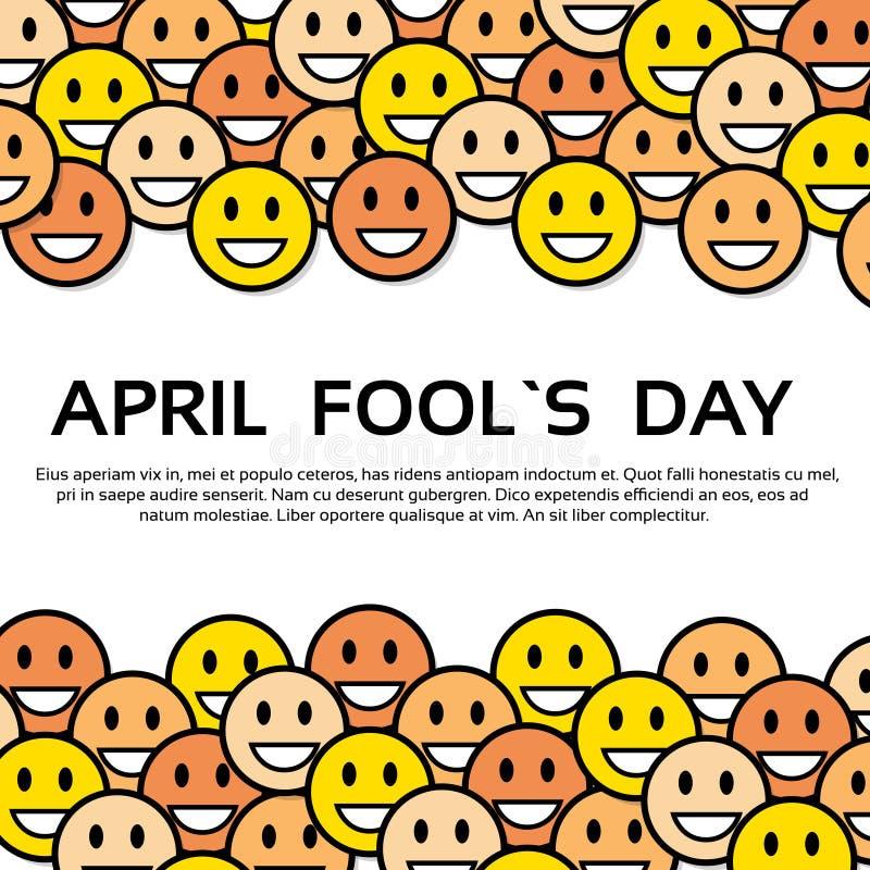 Día amarillo April Holiday Greeting Card del tonto de las caras de la sonrisa stock de ilustración