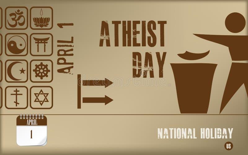 Día ateo de la postal ilustración del vector