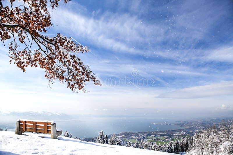 Día claro y vista soleados del lago de Constanza fotografía de archivo libre de regalías