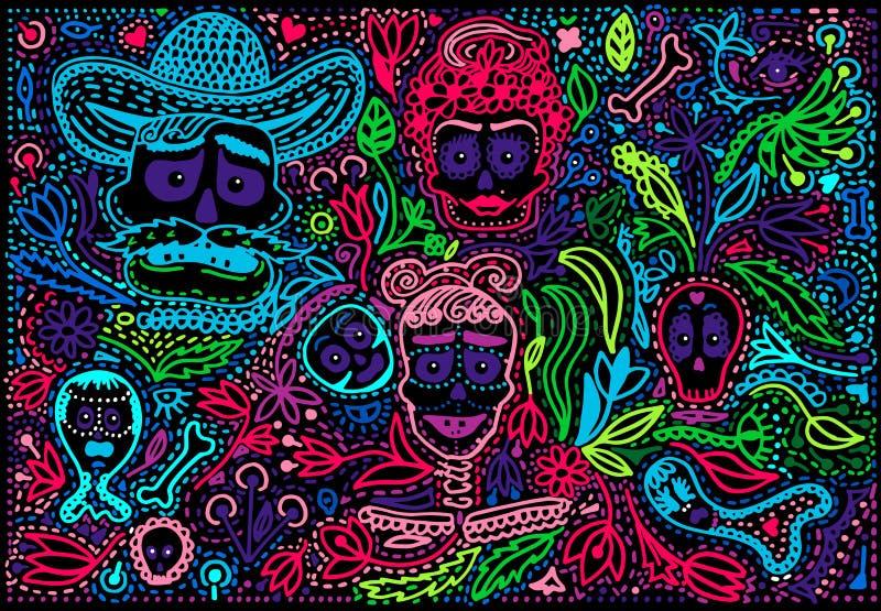 Día coloreado de Sugar Skull muerto con el ornamento stock de ilustración