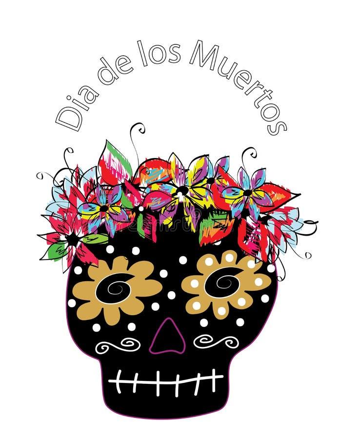 Día colorido del cráneo del azúcar del concept muerto dia de los muertos libre illustration