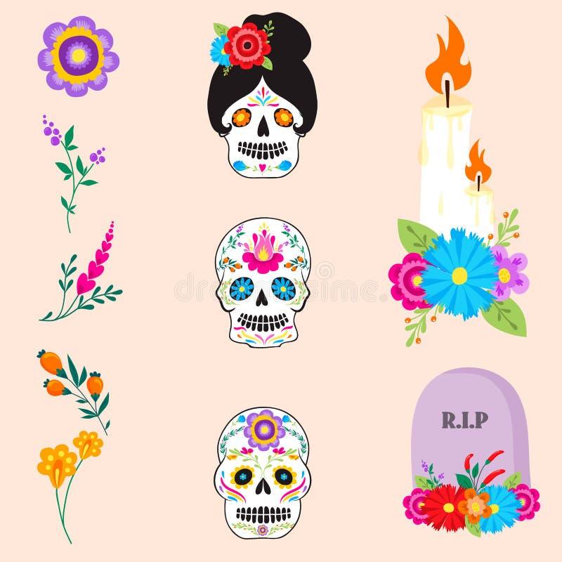 Día colorido del día de fiesta de los muertos de Dia De Los de los símbolos del vector muerto libre illustration