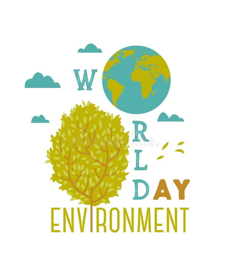 Día de ambiente de mundo Cartel de la tipografía con el globo, el árbol y las nubes de la tierra libre illustration