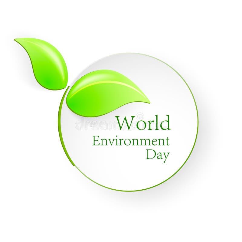 Día de ambiente de mundo Formas de hojas verdes con la sombra Ejemplo del vector para el día del ambiente mundial stock de ilustración