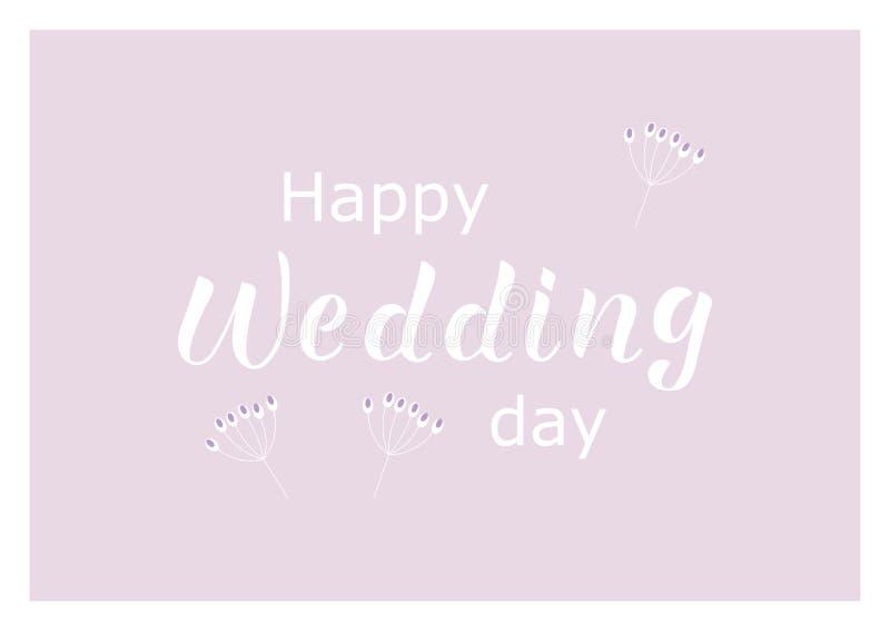 DÍA de BODA FELIZ - invitación de la boda, frase congratulatoria stock de ilustración