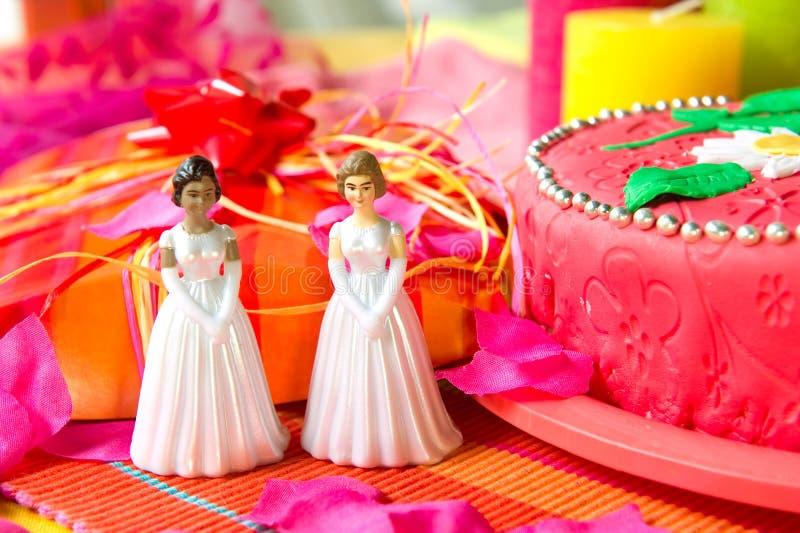Día de boda para los pares lesbianos fotografía de archivo libre de regalías