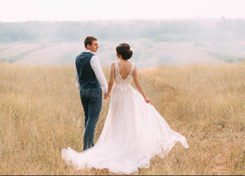 Día de boda Pares jovenes elegantes que caminan en un fondo de la fauna en la puesta del sol Foto fina del ` s fotografía de archivo libre de regalías