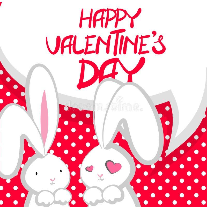 Día de dos tarjetas del día de San Valentín lindo del conejito libre illustration
