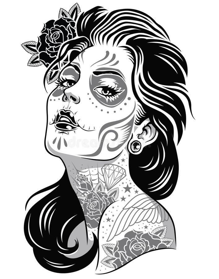 Día de ejemplo blanco y negro de la muchacha muerta stock de ilustración