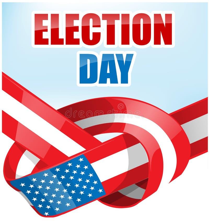 Día de elección de los E.E.U.U. con la bandera de la cinta stock de ilustración