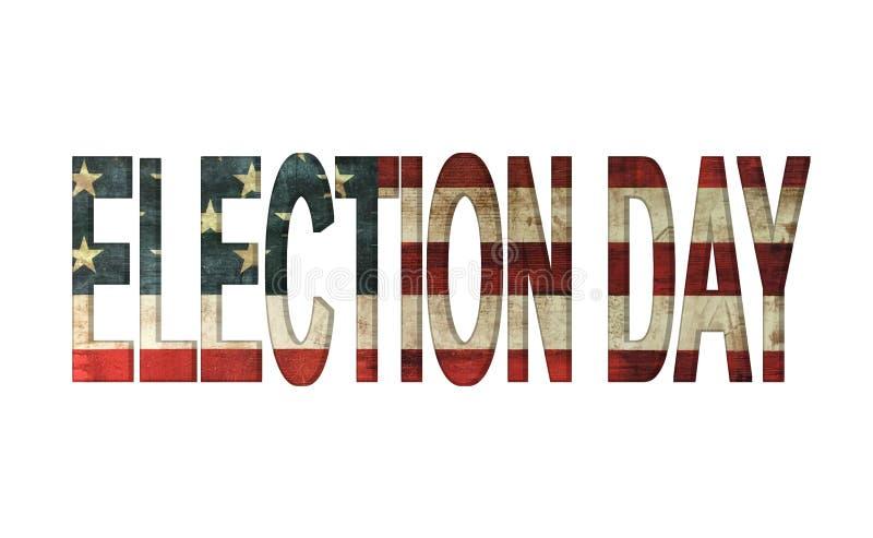 Día de elección en el concepto de la bandera americana del vintage aislado con el fondo blanco ilustración del vector