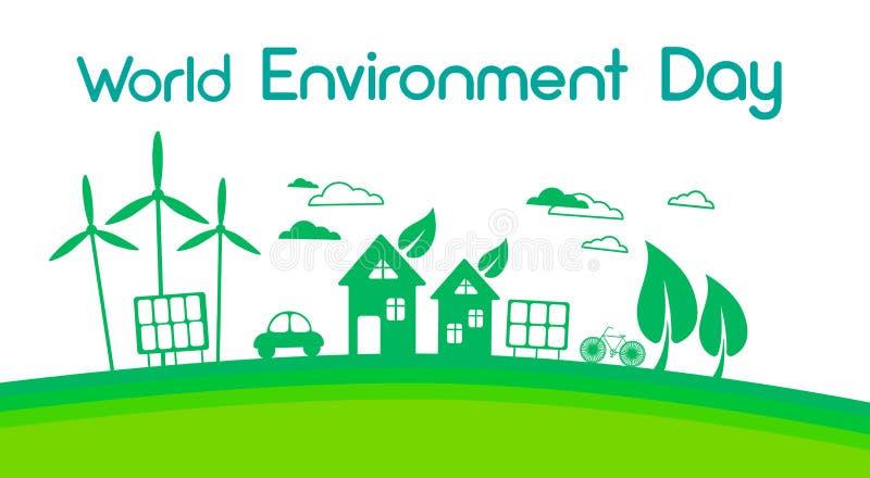 Día de energía solar verde del ambiente mundial del panel de la turbina de viento de la silueta de la ciudad libre illustration