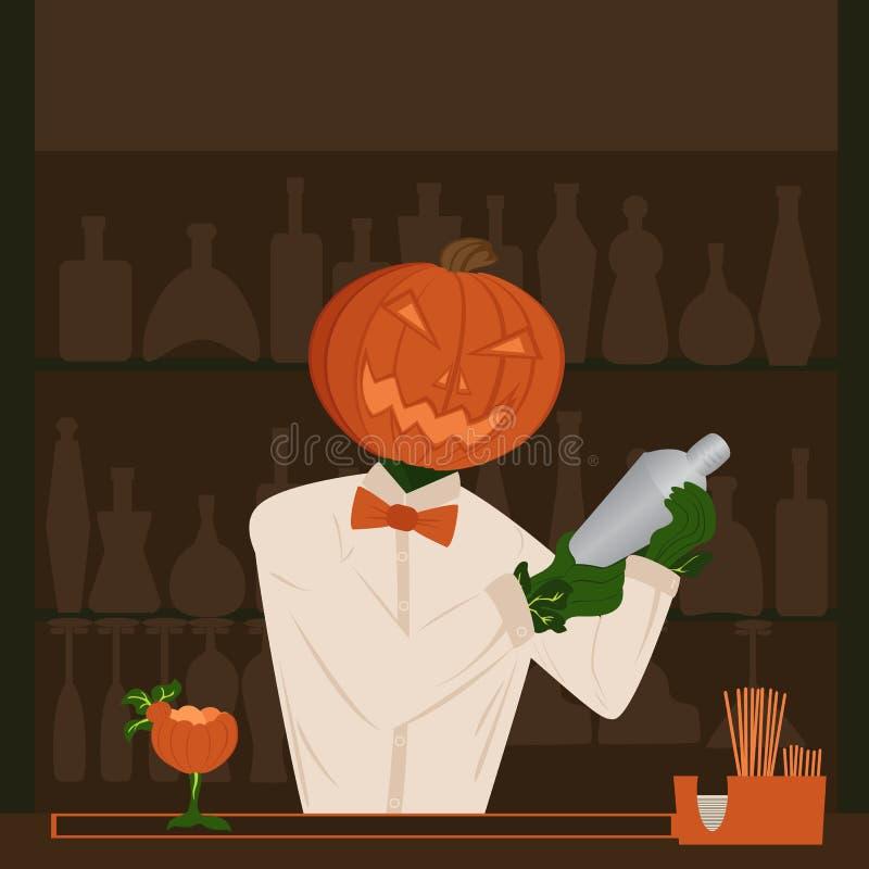 Día de fiesta de la calabaza de Halloween detrás del camarero de la barra que hace cockta stock de ilustración