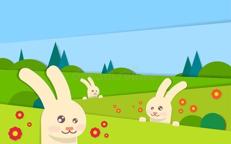 Día de fiesta de Pascua del cielo de Bunny With Green Grass Blue del conejo del paisaje de la primavera ilustración del vector
