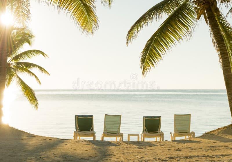Día de fiesta Deckchairs de la playa imagen de archivo