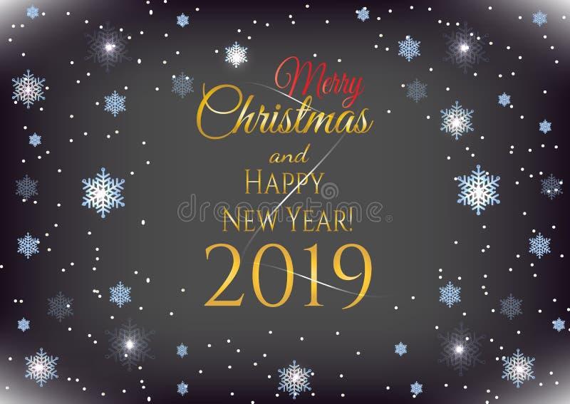Día de fiesta del Año Nuevo y tarjeta de Navidad con el brillo de los copos de nieve azules y de la enhorabuena Bandera de la cel libre illustration