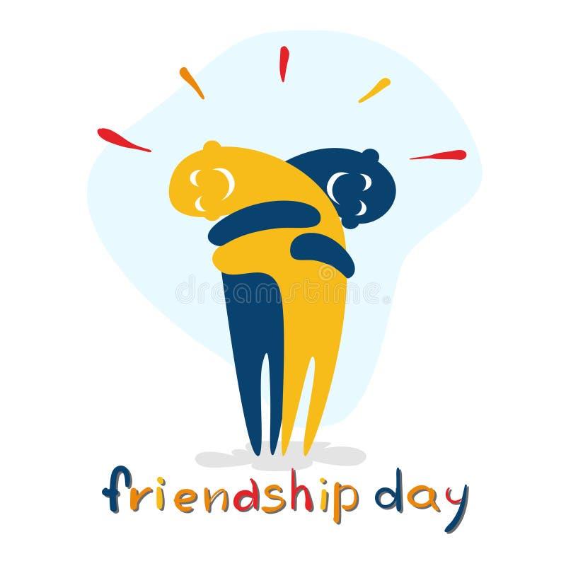 Día de fiesta del amigo del abrazo de los personajes de dibujos animados del día de la amistad ilustración del vector
