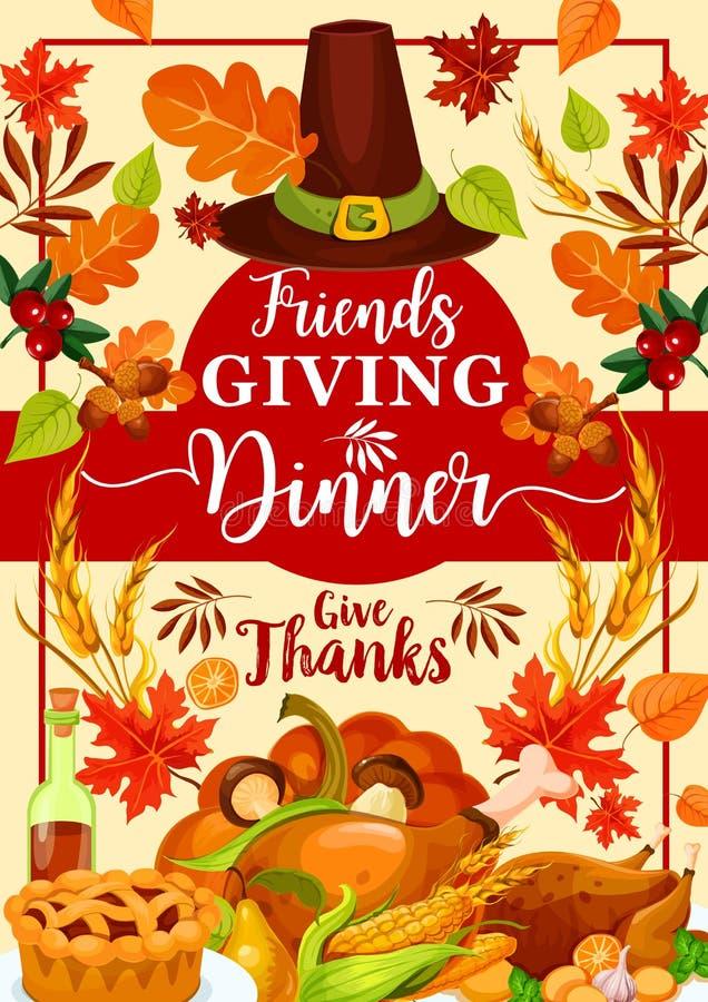 Día de fiesta del otoño, platos de la cena del día de Friendsgiving libre illustration