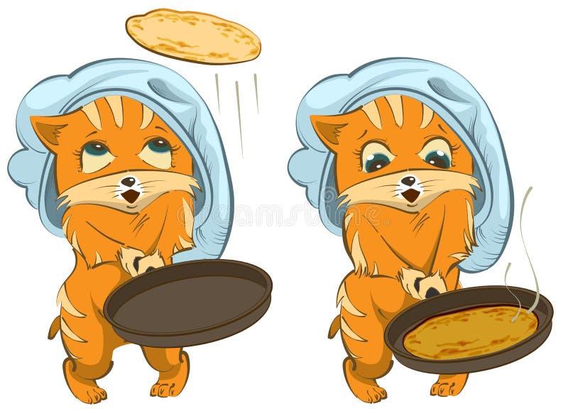 Día de fiesta del ruso de Shrovetide El cocinero del gato fríe las crepes stock de ilustración