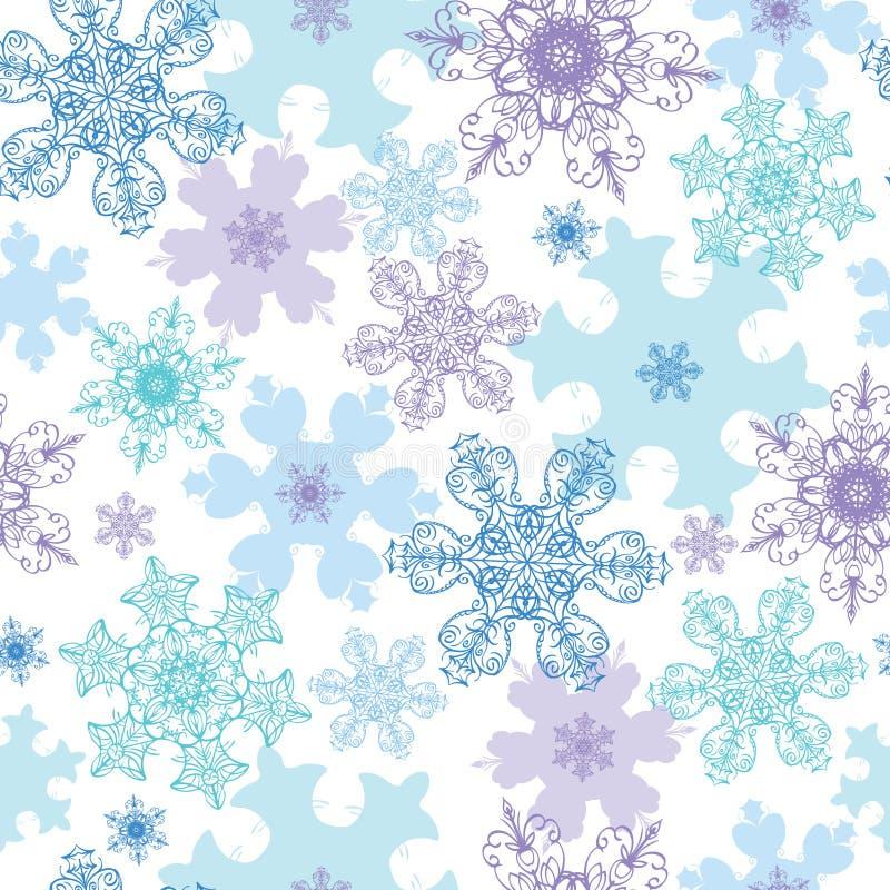 Día de fiesta detallado púrpura azul de los copos de nieve del vector stock de ilustración