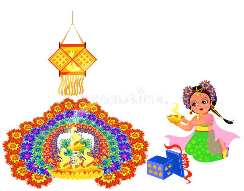 Día de fiesta de Diwali con la muchacha que pone la llama al rangoli ilustración del vector