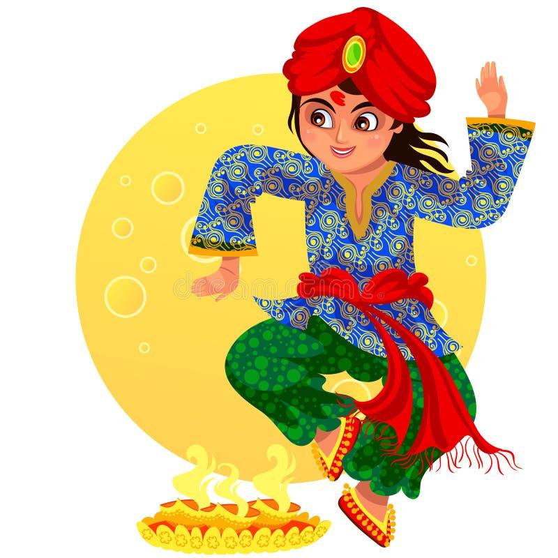 Día de fiesta de Diwali y danza del ritula de la demostración del muchacho stock de ilustración