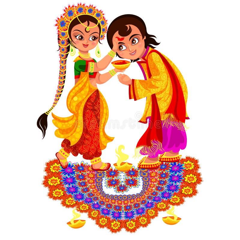 Día de fiesta de Diwali y rito religioso del día de Bhai Dooj stock de ilustración