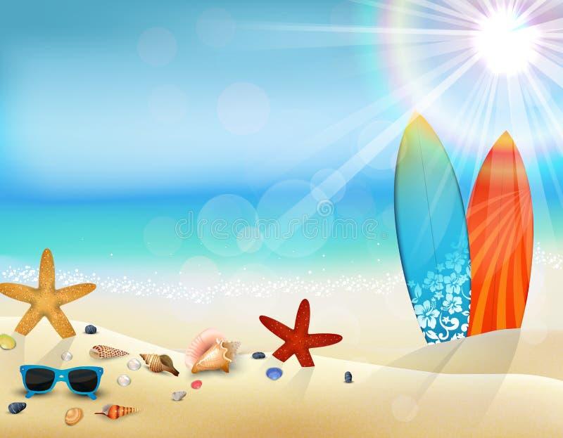 Día de fiesta en playa en el verano con la tabla hawaiana ilustración del vector