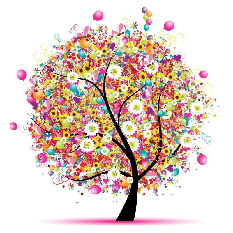 Día de fiesta feliz, árbol divertido con los globos