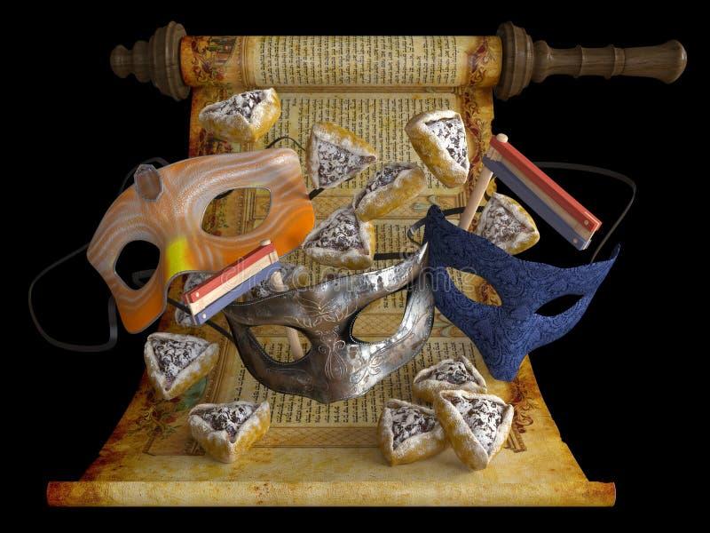 Día de fiesta feliz del purim, tradicional judío ilustración del vector