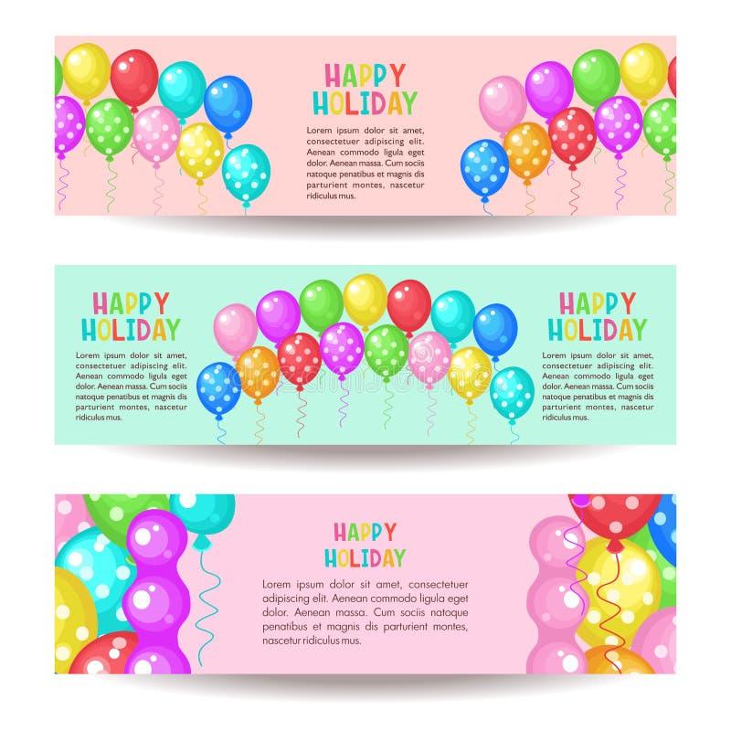 Día de fiesta feliz Sistema de banderas del saludo Globos multicolores stock de ilustración