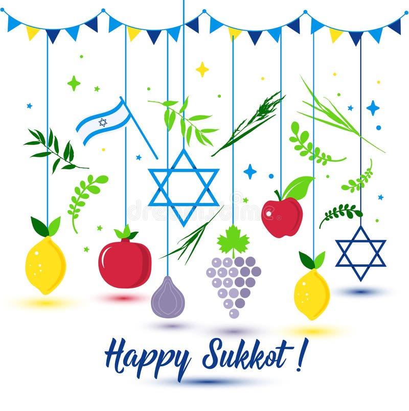 Día de fiesta feliz de Sukkot Día de fiesta judío Sukkot Año Nuevo judío del vector Autumn Fest Rosh Hashana Israel Sukkah Isla m ilustración del vector