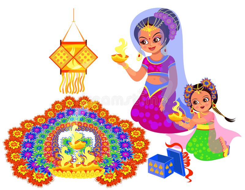 Día de fiesta indio y madre de Diwali con la hija ilustración del vector