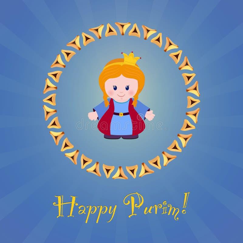 Día de fiesta judío de Purim Tarjeta de felicitación con Esther libre illustration