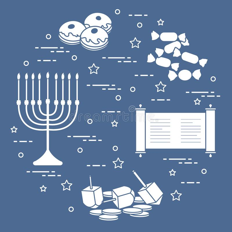 Día de fiesta judío Jánuca: dreidel, sivivon, menorah, monedas, anillos de espuma y otro ilustración del vector