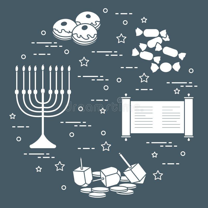 Día de fiesta judío Jánuca: dreidel, sivivon, menorah, monedas, anillos de espuma y otro libre illustration